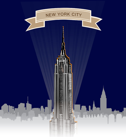 New York City Skyline  Empire State Building at night  NYC background   Vector