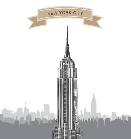 New York City landscape  Empire State Building label  NYC background