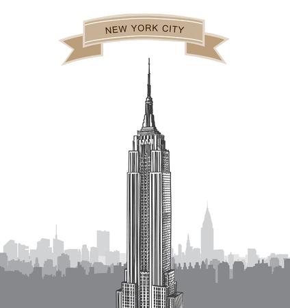 imperium: New York City landschap Empire State Building label NYC achtergrond