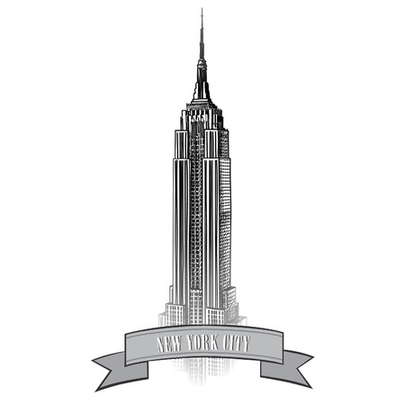 metropolitan: New York City label with Empire State Building  NYC travel icon   Illustration