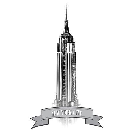 Nuova etichetta York con l'Empire State Building di New York icona viaggio Archivio Fotografico - 23662090