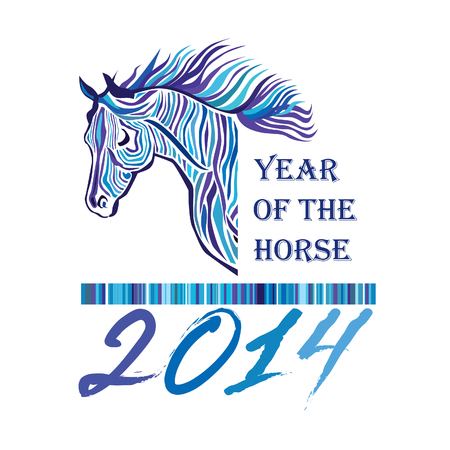 siluette: Blue Horse - Symbol of 2014  Year of the horse siluette label  Happy New Year