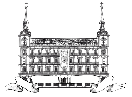 plaza: Plaza Mayor in Madrid, Spain  Hand drawing vector illustration isolated on white background