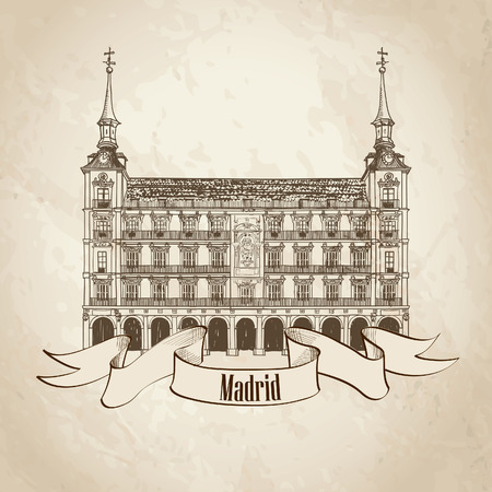 plaza: Plaza Mayor in Madrid, Spain  Hand drawing vector illustration isolated on old paper background   Illustration