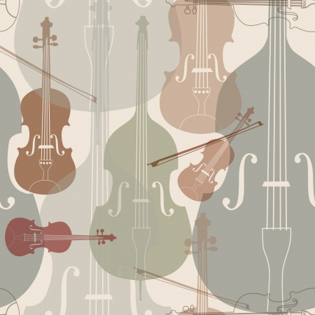 contrabass: Music instruments seamless pattern  Stringed musical instrument silhouette seamless background   Illustration