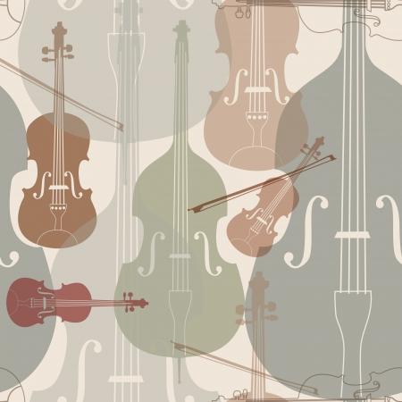 húros: Zenei hangszerek tökéletes minta húros hangszer sziluett zökkenőmentes háttér Illusztráció