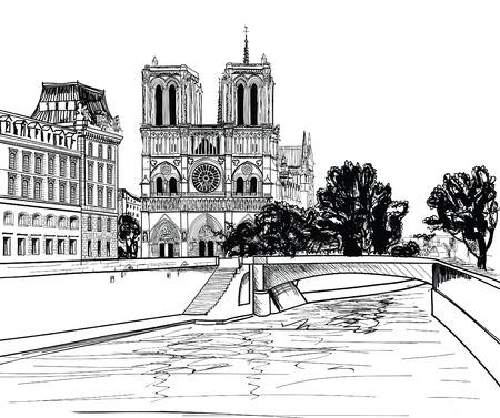 유럽: 노트르담 드 파리 성당, 세느 강 풍경과 파리 프랑스에게 정원