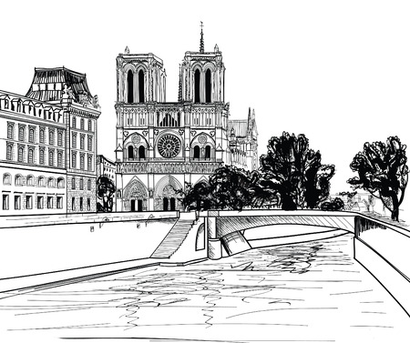 Notre Dame de Paris Cathedral, landscape with Seine river and garden Paris  France  Vector