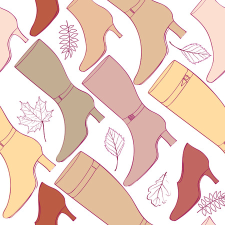 Autumn boots background  Beautiful shoes pattern  High heels seamless texture   Vector