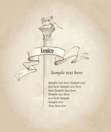mark: Venecia etiqueta San Marcos s Square s�mbolo, Venecia, Italia de fondo anticuado con copia espacio Vector dibujado a mano ilustraci�n