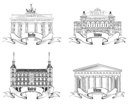 아테네 베를린 마드리드 비엔나 표지판 라벨 세트 여행 유럽 기호 컬렉션 유명한 유럽 건물과 목적지 손으로 그린 벡터 스케치 그림