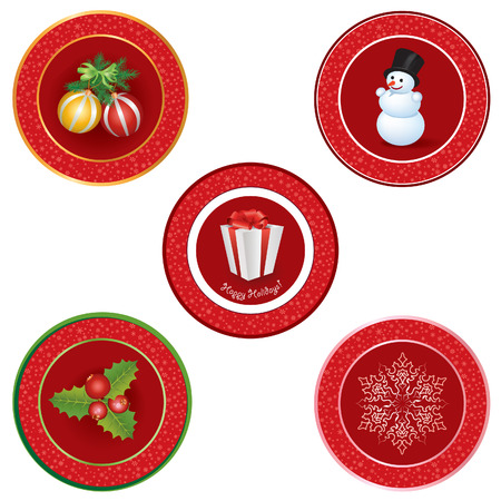 Christmas icon set  Winter label vector collection   Vector