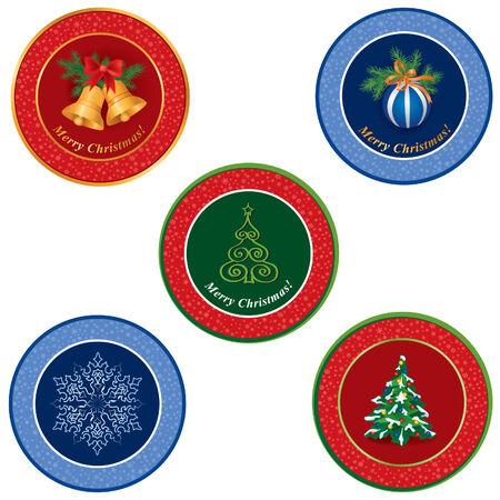 Christmas icon set  Winter label vector collection   Vector