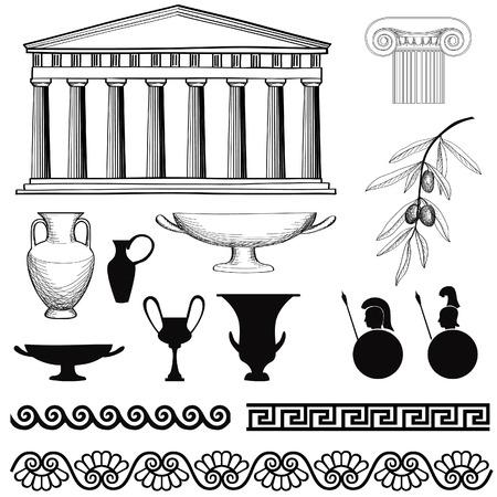 vasi greci: Grecia icon set Arch, senza soluzione di continuità ornamento, Colonna, Vaso, olive segni e simboli vettoriali a mano collezione disegnata Vettoriali