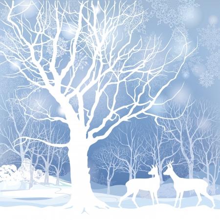冬森雪冬の背景の 2 つの鹿抽象的なベクトル イラストと雪の冬の風景