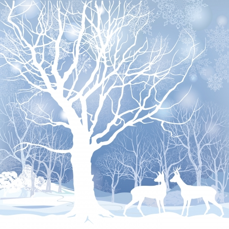 wonderland: Snow winter landscape with two deers  Abstract vector illustration of winter forest  Snow winter background