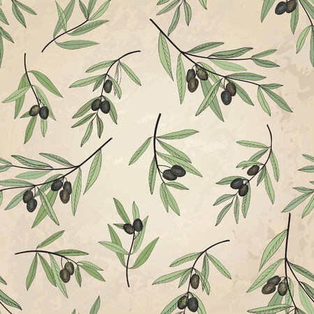 old fashioned vegetables: Olive seamless pattern  Hand drawn olive branch background  Old fashion olive decorative texture for label, pack   Illustration