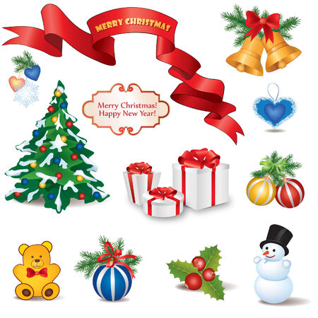 Christmas Icons  Winter Objects Collection  Label vector collection   Vector