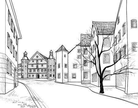 오래 된 유럽 도시의 지방 도시의 보행 거리에있는 구식 독일 골목길