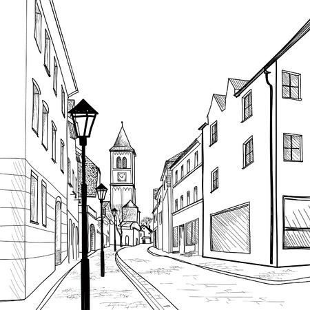 Verkeersvrije straat in de oude Europese stad Stock Illustratie