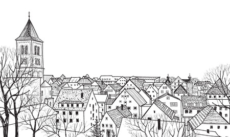 roof line: Hand drawn sketch of cityscape