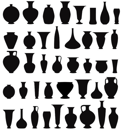 ceramic bottle: Vase set  Pot Pottery Vases Flower Home Interior Decoration  Vector icon collection