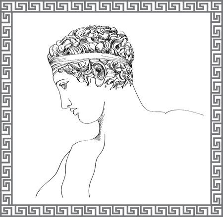 고대: 그리스어 조각 손으로 그린 스케치 일러스트