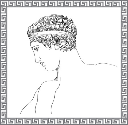 roman mythology: Greek sculpture hand drawn sketch
