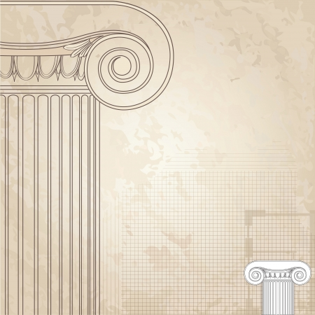 architectural styles: Classic columns seamless background Illustration
