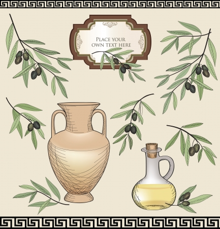 Green olive branch set Vector