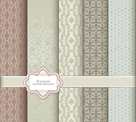 Seamless pattern set in retro style Abstract vector textured backgrounds for scrapbook