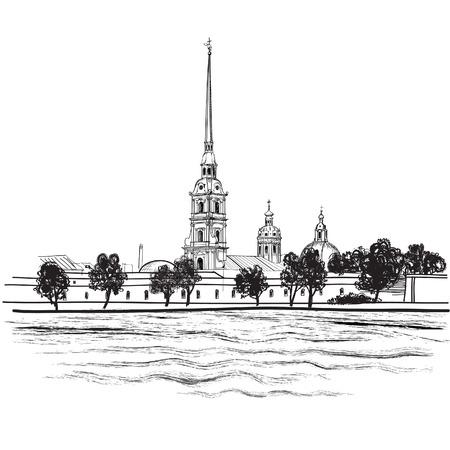 セント ・ ピーターズバーグ ランドマーク ピーターと Paul 大聖堂ロシアの都市景観のベクトルの背景  イラスト・ベクター素材