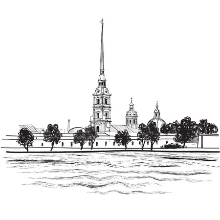 landmarks: St -Petersburg landmark Peter and Paul Cathedral  Russian cityscape vector background