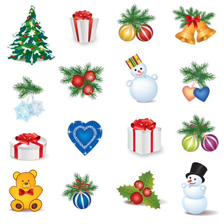 Christmas Icons Winter Objects Collection Vector