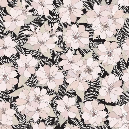 Flower seamless background  Spring floral pattern  Nature texture   Illustration