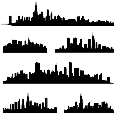 シティ シルエット イリノイ州シカゴ様々 なスカイライン シルエット設定パノラマ都市背景都市の地平線国境コレクション  イラスト・ベクター素材