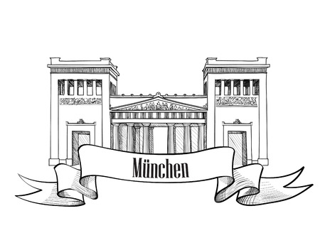 classicism: Gateway  Propylaea  in Munich, Bavaria, Germany  Hand drawn landmark label   Illustration