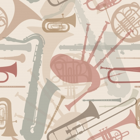 oboe: Music instruments seamless pattern  Musical instrument silhouette repeating background  Vector set