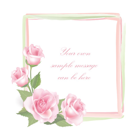 flower rose: Flower rose frame isolated on white background   Rose posy decor