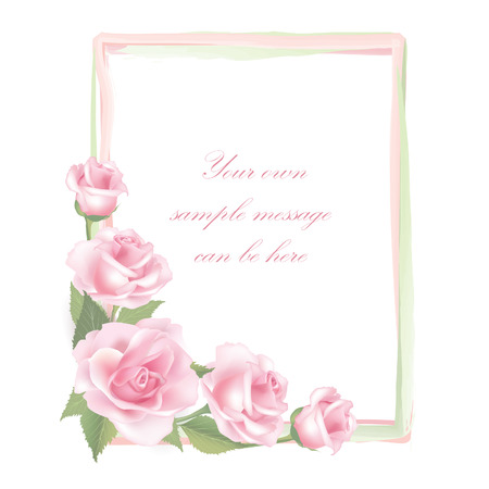 Flower rose frame isolated on white background   Rose posy decor Vector