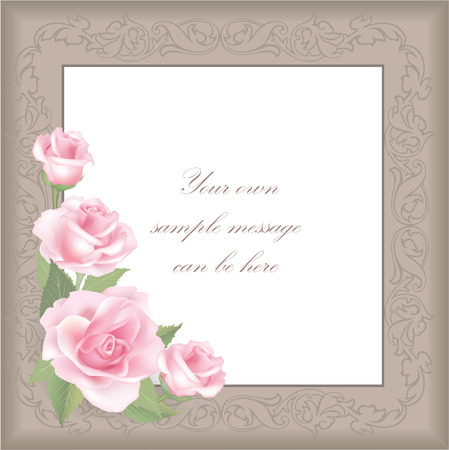 Roses background  Floral greeting card  Vector