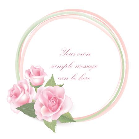 Flower frame isolated on white background  Rose posy border   Illustration
