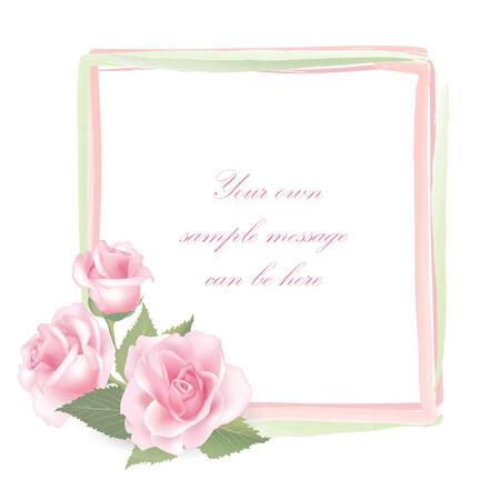 posy: Flower frame isolated on white background  Rose posy border   Illustration