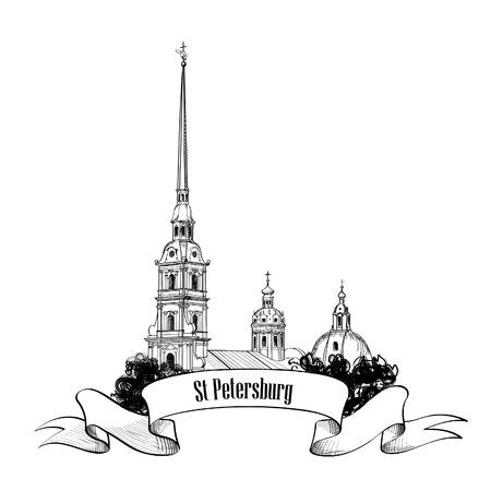 St Petersburg bezienswaardigheid, Rusland Cityscape achtergrond Travel label