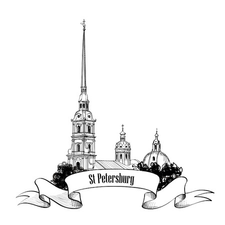 St  Petersburg: St  Petersburg landmark, Russia  Cityscape background  Travel label