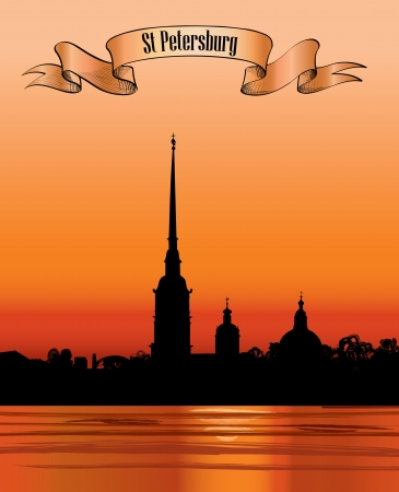 basilica of saint peter: St  Petersburg landmark, Russia  Saint Peter and Paul Cathedral and Fortress, sunset view from Neva river  Russian cityscape silhouette vector background