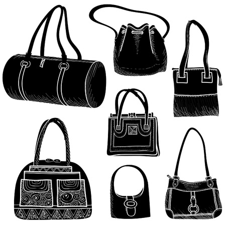 Handbags set   Female purse collection  Fashion bags silhuette  Vector