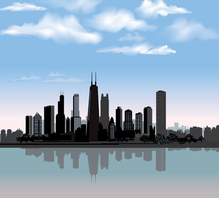 city skyline night: Chicago city skyline detailed silhouette with reflection in water  Illinois Vector illustration