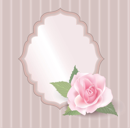 Greeting card with copy space  Beautiful retro label with flower rose   Vector