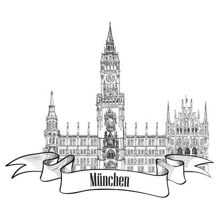 m�nchen: Munich label Rathause, Nieuw Stadhuis, München, Duitsland Hand teken vector illustratie Stock Illustratie
